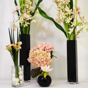 Pack décoration fleurs roses et blanches