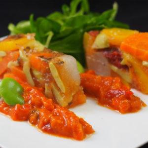 Terrine fraîcheur de légumes au jus de carottes et basilic