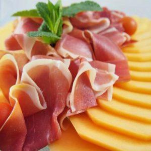 Rosace de melon et jambon cru