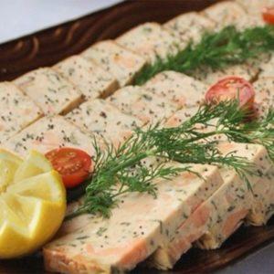 Terrine de saumon et truite aux amandes