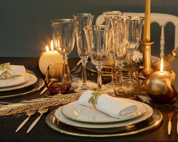 assiette filet or sur table
